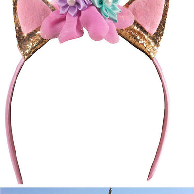 1 pcs New Unicorn Headbands with Pony Ear and Felt Rose Flower Animal Unicorn Party Stretch Hair Band Girls Christmas Halloween - Dailytechstudios