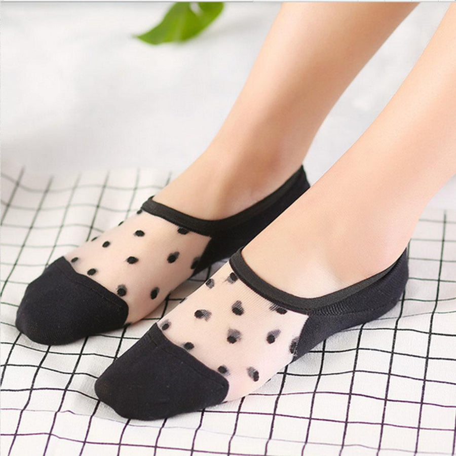 1 Pair Fashion Style Girls Women Cotton Lace Antiskid Invisible Liner No Show Low Cut Socks Hot Sale calcetines de mujer - Dailytechstudios