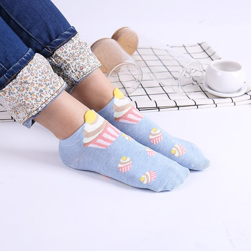 1pcs Cute Socks Woman 3D Cake Pattern Novelty Funny Socks Casual Fashion Cotton Material Comfortable Breathable Pink Woman Socks
