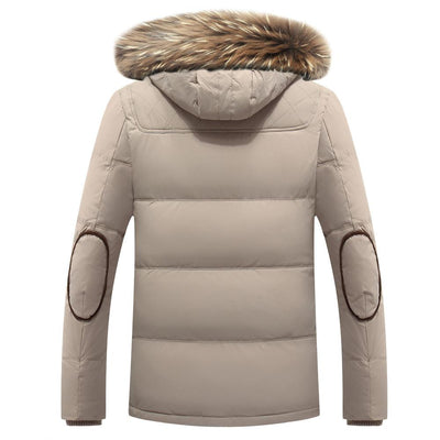 cb12746906f Fashion Winter MensDown Jacket With Fur Hood Slim Men White Duck Down  Outwear Coat Casual Thick