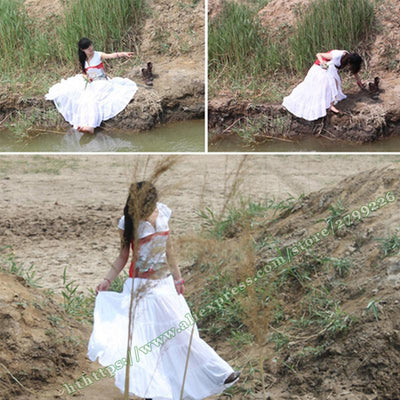 100% Cotton Gypsy Bohemia Casual BOHO Full Circle Spani Pleated Female Long Skirt / White Red Black Maxi Plissee Skirts Womens  dailytechstudios- upcube