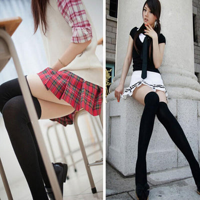 1Pair New Hot Mini Women Girls Fashion Opaque Over Knee Thigh High Elastic Sexy Stockings Black/White
