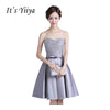 It's Yiiya 2017 New Gray Strapless Bow Sex Party Gown Prom Gowns Lace Up Knee Length Ball Gowns Sequined Cocktail Dresses X163
