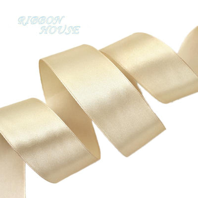(25 yards/roll) 40mm Champagne Single Face Satin Ribbon Wedding Decoration Gift Christmas Ribbons - Dailytechstudios
