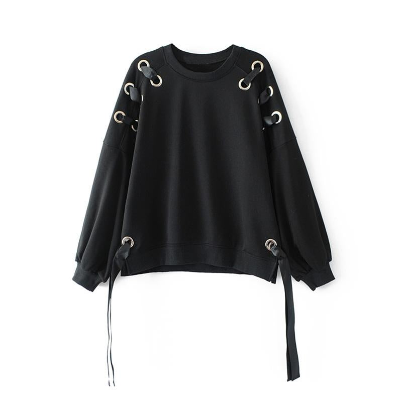 2017 autumn tops casual black womens clothing long sleeve pullover women tops lace up sweatshirt women
