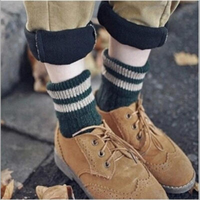 1 pair Women Cashmere Cotton Wool Thick Warm Socks Autumn Winter Fashion Striped Design Soft Comfortable Socks Accessories - Dailytechstudios