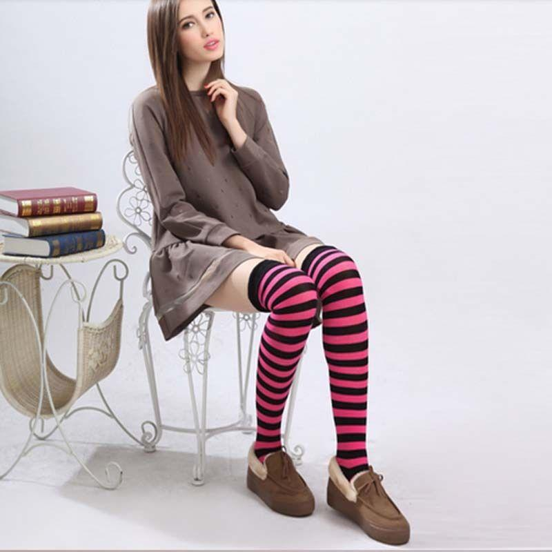 1Pair New Women Girls Over Knee Long Stripe Printed Thigh High Striped Patterned Socks 7 Colors Sweet Cute Warm Fashion HotSales