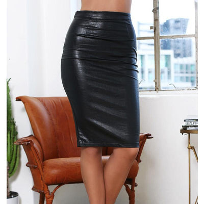 a4acd1220af 2017 Promotion Autumn Work Office Faux Leather Pu Pencil Skirts Women  Casual Plus Size Skirt Clothing