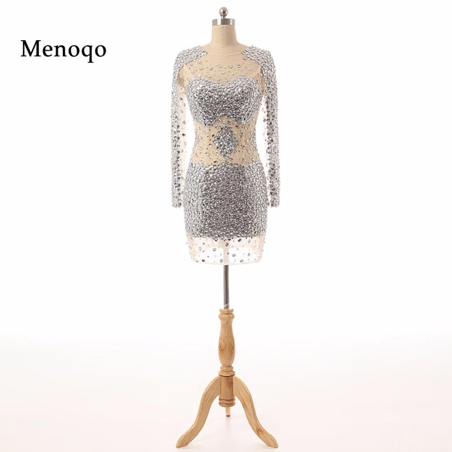 2018 Real Photo Sexy See through Short Party Cocktail Dresses Sheath Long  sleeve Beaded Crystal New 1add6126d276