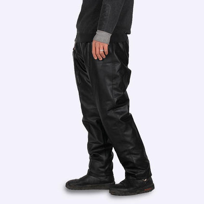 #2202 2017 Straight Black leather pants men Fashion Car wash Dust-proof Chef Work clothes Loose Elastic waist Side pocket - Dailytechstudios