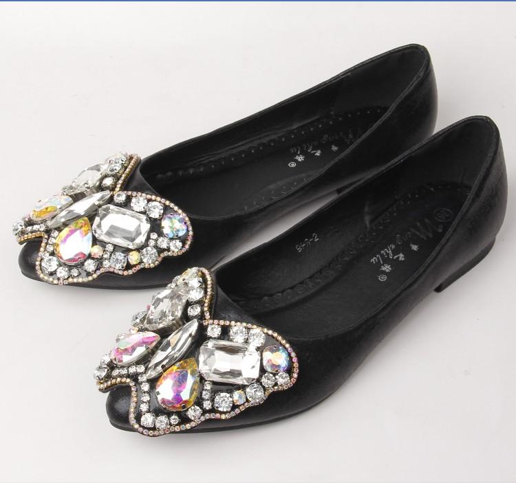 --Free shipping 2017 NEW fashion rhinestone bow pointed flat shoes transparent diamond Women Lazy shoes Leisure single shoes 2 - Dailytechstudios