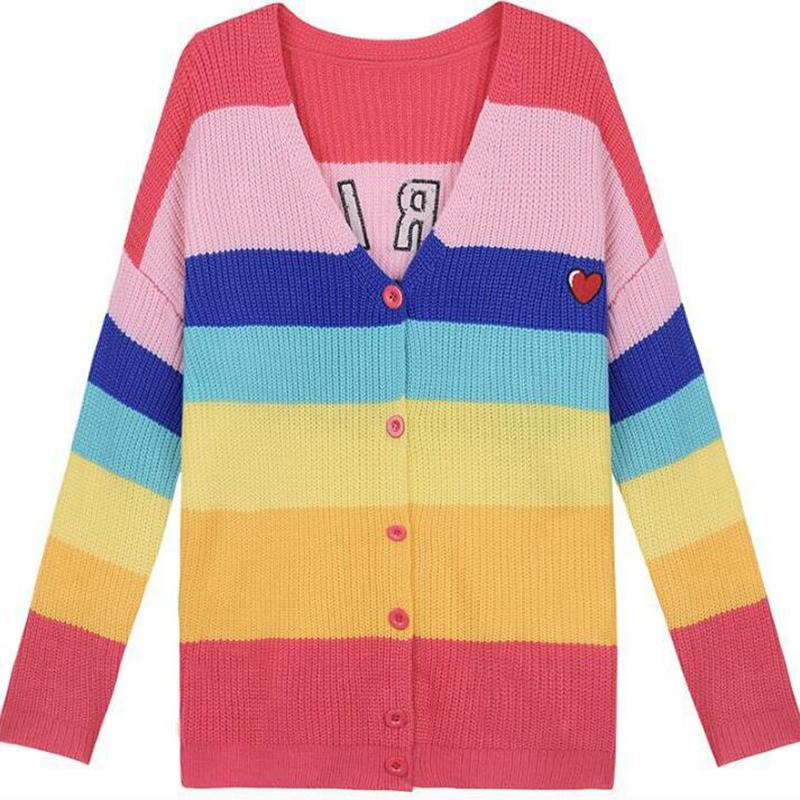 2018 Autumn New Rainbow Striped Women Sweater Cardigan Love Embroidery Letter BORING Cloth Paste Loose Knitted Tumblr One Size