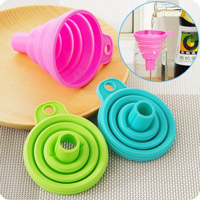 1Pcs Mini Silicone Gel Foldable Collapsible Style Funnel Hopper Kitchen Cooking Tools  UpCube- upcube