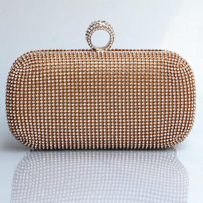 (Put iphone6PS ) Both Side Diamond Ring Clutch Bags Smart Multifunction Women Full Rhinestone Evening Bag Clutch Purse/Bling Bag - Dailytechstudios