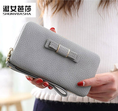 2016 han edition wallet female long lovely bowknot sell like hot cakes brand SHUNVBASHA students high-capacity mobile wallet