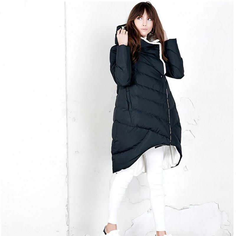 (TopFurMall)European Winter Women's Down Parkas Coats with Hoody 80% Duck Down Lady Fashion Outerwear Overcoat LF4086