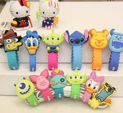 100PCS Cute Cartoon Universal Long Earphone Headset USB Silicone Rubber Cable Bobbin Winder Cable Holder Organizer With Buttons  UpCube- upcube