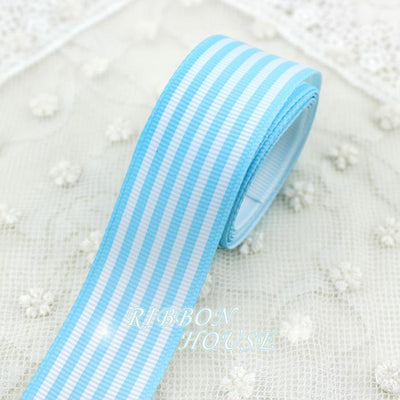 (5 yards/lot) 1''(25mm) Blue and White Stripes grosgrain ribbon printed gift wrap ribbon decoration ribbons - Dailytechstudios