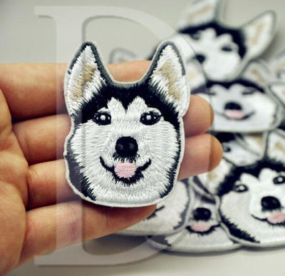 1 PCS Husky Dogs parches Embroidered Iron on Patches for Clothing DIY Stripes Clothes Stickers Custom Badges 5.8*4.5 CM @JJ1 - Dailytechstudios