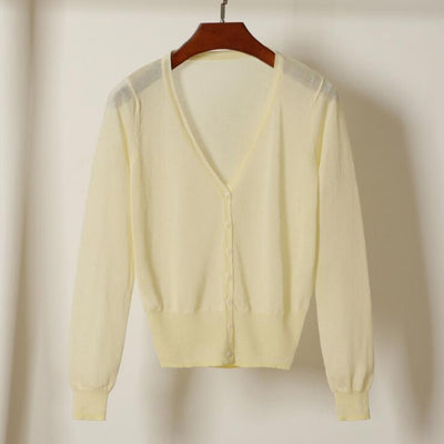 20 Colors Short Cardigan Coat Spring Summer Women's V Neck Ice Silk Thin Coats Buttons Closure Pink White Black Yellow Green Red