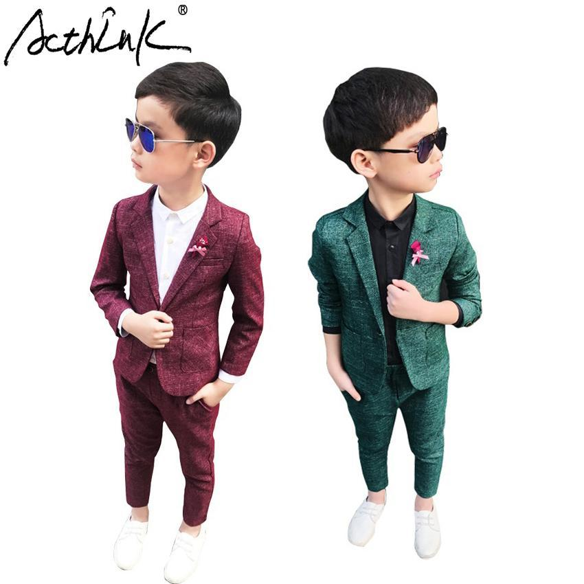 752e61d7a9d ActhInK Autumn Winter Korean Style Young Boys Formal Suits England-Style  Flower Boys Turn
