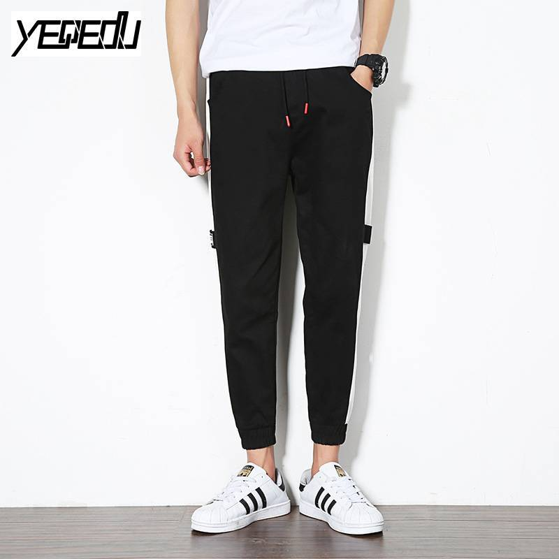 #2822 Ankle-length Black harem pants Harajuku Side striped Streetwear Hip hop pants Elastic waist sweatpants Pantalon hombre 5XL
