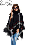 11th,Nov Plus Size Women's Wool Plaid Cardigan Turtleneck Cape Batwing Sleeve Knit Poncho Sweater  UpCube- upcube