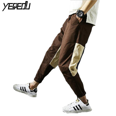 #2823 Harajuku Corduroy trousers men Patchwork Large size Ankle-length Casual Joggers men Hip hop pants Loose Baggy trousers 5XL - Dailytechstudios