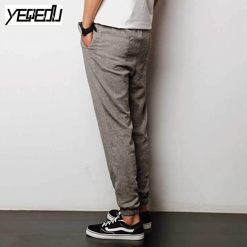 #1301 Summer 2017 Linen harem pants Thin Vintage Thin Joggers Casual trousers men Loose Hip hop Elastic waist sarouel homme 5XL