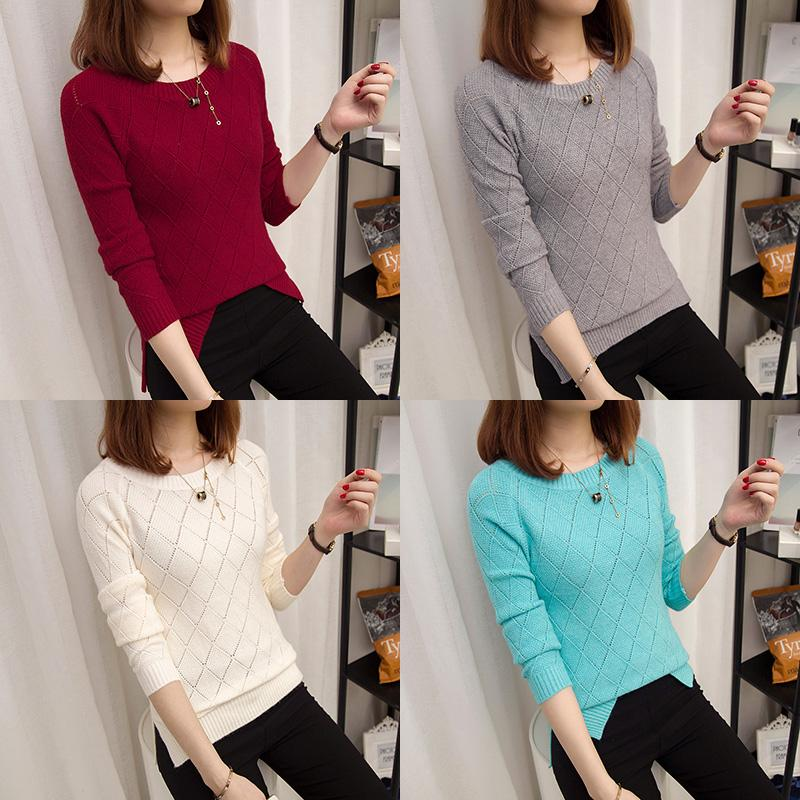 2017 Autumn Winter Loose Pullover Pull Femme Side Split O-neck Knitted Sweater Women Solid Casual Elastic Jumper Female Tops