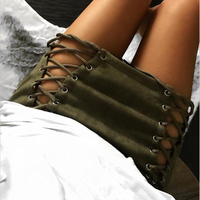 12colors Women High Waist Skirts Autumn Winter Fashion Lace Up Faux Suede Bandage Club Short Mini Skirt