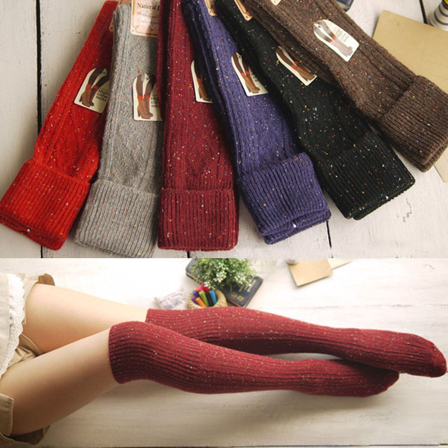 2016 Wool Warm Women Stocking High Mid calf Women Trendy Turn Up Rib Dot Blend Long h Stocking Boot hosiery
