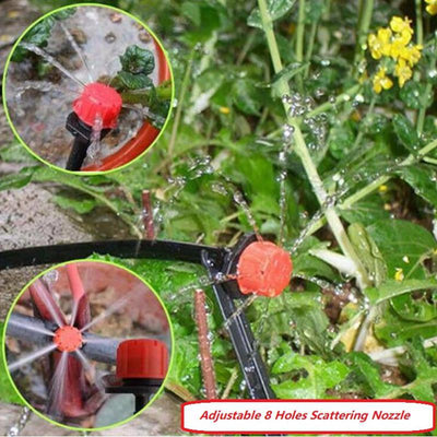 100/150/200pcs Micro Flow Dripper Adjustable 8 Holes Scattering Spray Red Nozzle Garden Drip Irrigation NNW Sprinklers Fittings