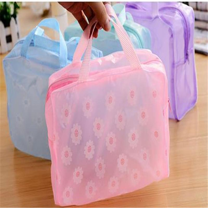 1 PC Women Floral Transparent Waterproof Zipper Comestic Travel Toiletry Wash Bag handbag Girl Makeup Case Holder ACB581