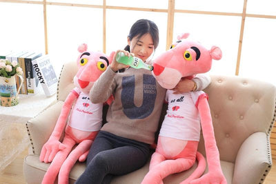 1pc 80cm Super Cute Stuffed Animal Shin Leopard Pink Panther T-shirt Plush Toy Doll birthday gift christmas present  UpCube- upcube