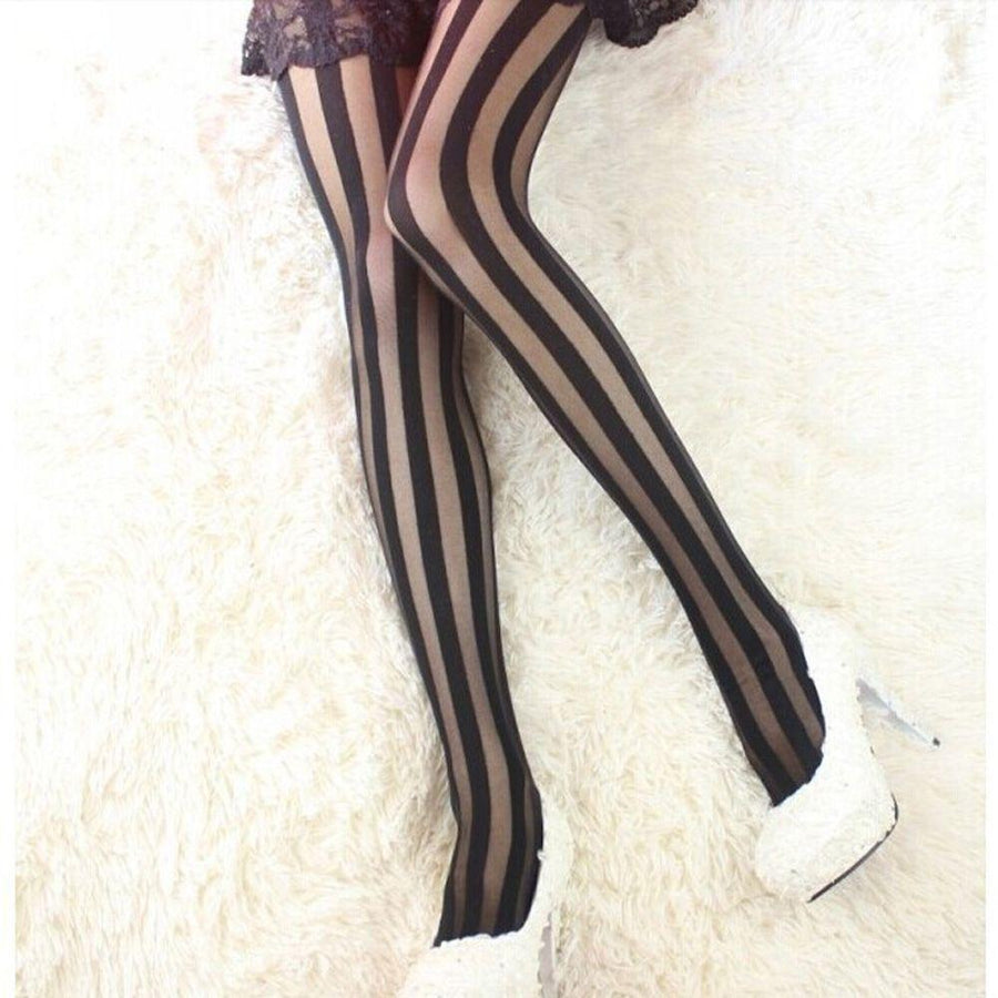 1 pc Female Rock Punk Gothic Black Stockings Tights Pantyhose Vertical Stripe For Women Girl - Dailytechstudios