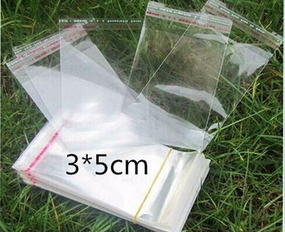 1000 PCS 3x5cm Packaging Self Adhesive bags Plastic OPP Clear Pack Jewelry Gift Bag 1.18*1.96inchs
