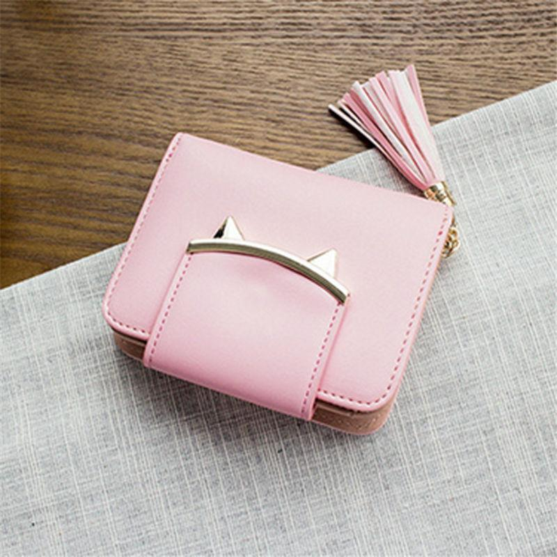 2017 Fashion Women Wallets PU Leather Tassel Female Wallet Ladies Bronzing Cat ears Clutches New Brand Card Holder Women Purses
