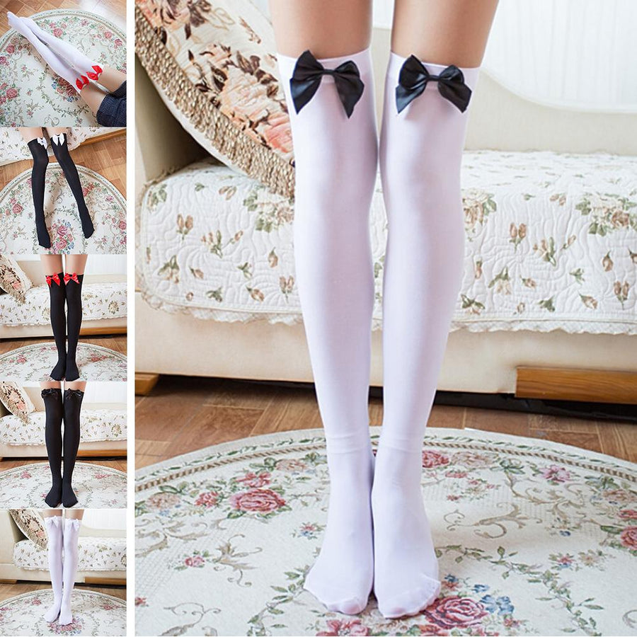 1 Pair Cosplay Striped Bow Knee Socks Sexy Stockings Japanese Printed Stocking Thigh Sock Long Knee High Socks Medias Women - Dailytechstudios