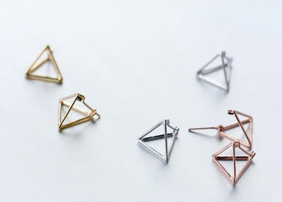 1pair Real. 925 Sterling Silver jewelry 3D Triangle Earrings young girls' Gift Geometric jewelry GTLE1230  dailytechstudios- upcube