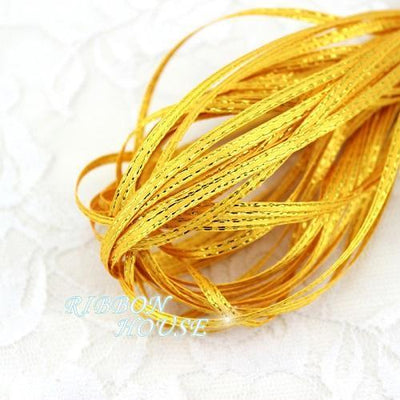 (20 meters/lot) 1/8'' (3mm) Gold Edge Satin ribbons wholesale - Dailytechstudios