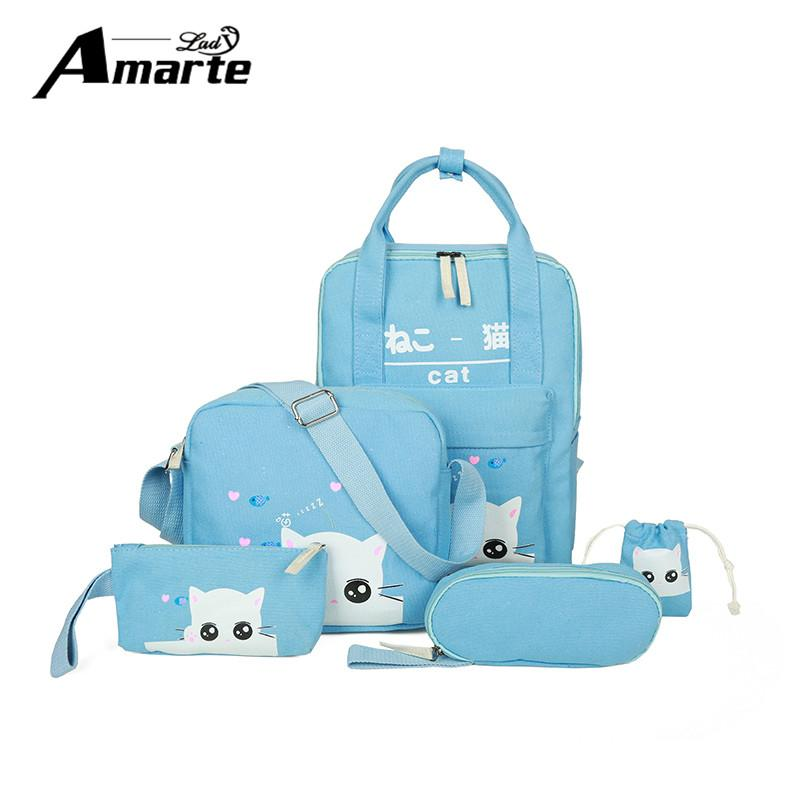 c8570011c825 Amarte Canvas School Bags Sets 5pcs new fashion cute cat printing school  bags for girls students big capacity school backpacks Write Review