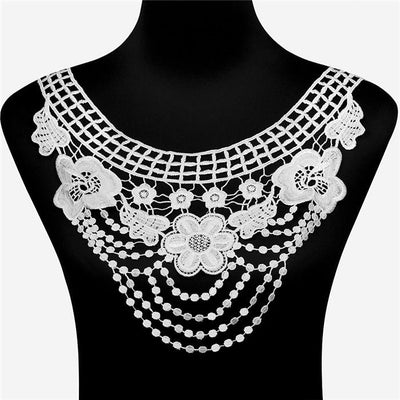 1pc 100% Polyester Black Big Flower Necklace Lace Collar Fabric Trim DIY Embroidery Lace Fabric Neckline Applique Sewing Craft  UpCube- upcube