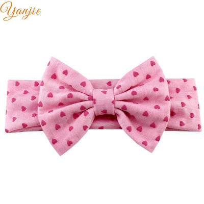 "1PC 2018 Hot-sale Girl 5"" Cotton Dot Heart Elastic Bow Headband Hair Style Headbands Accessories For kIds Headwrap Bandeau  UpCube- upcube"