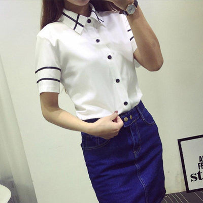 Blusas Ladies OL Elegant Women 2017 Autumn Korean Style Long Sleeve Sequin Chiffon Ladies Office Shirt White Blue Tops Formal S3