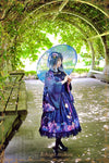 """Lost in Hydrangea Dream"" Women's Japanese Kimono / Yukata Style Embroidery Trench Cool Loose Outwear Stary Night Printed - Dailytechstudios"