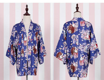 """Onegai Usagi"" Praying Rabbit Women's Japanese Kimono Style Kawaii Blossom Bunny Trench Cute Lolita Loose Outwear 5Colors Coats Meow Girl- upcube"