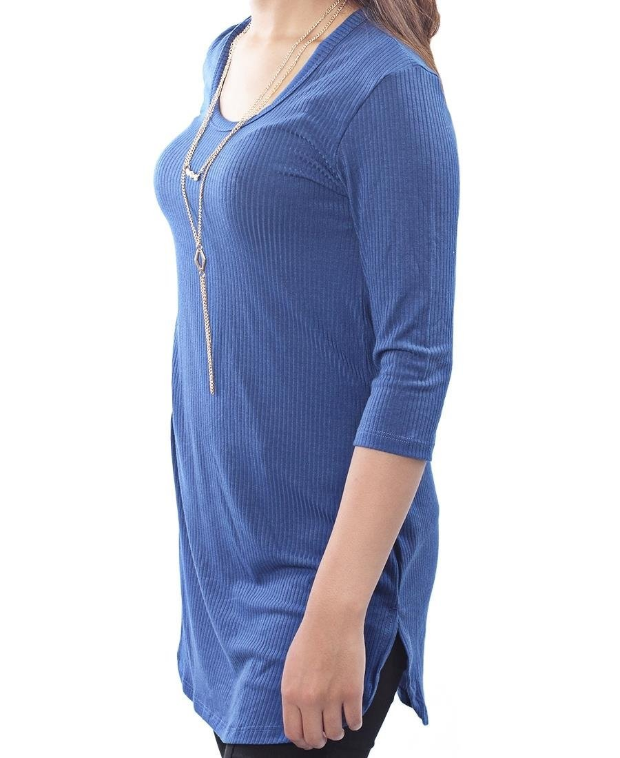 ½ Sleeve Stretched Tunic - Blue