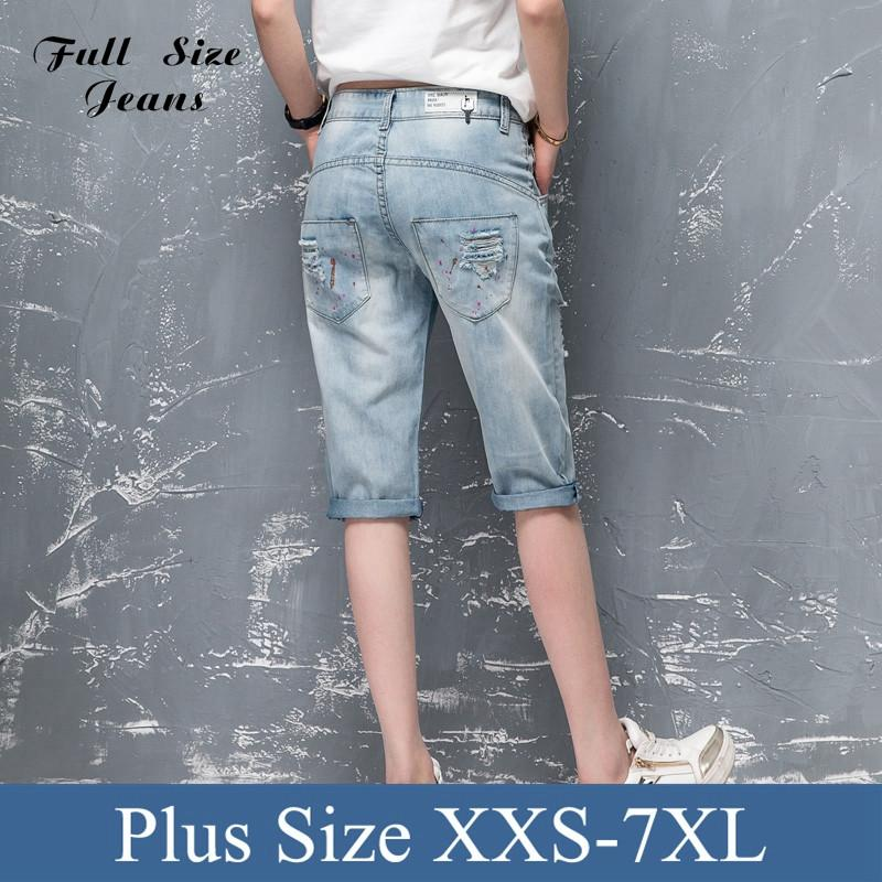 Summer Plus Size Bermuda Shorts Feminino Washed Ripped Denim Capris Jeans Femme Boyfriends Ripped Jeans Short 3Xl 36 40 4XL 7XL