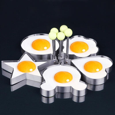 (5 pcs/set) Star Heart Shaper Fried Egg Mold Ring Cooking Tools Kitchen Gadgets Kitchen Stainless Steel Thick Cook Pancake Mold - Dailytechstudios